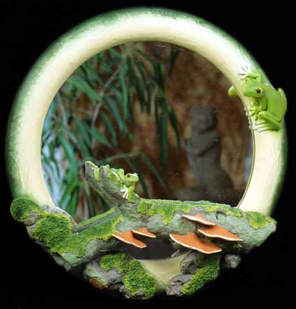 Round Mirror with Frogs
