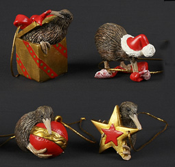 Christmas Decorations Kiwis - Set of 4