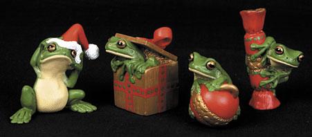 Christmas Decorations Frogs - Set of 4