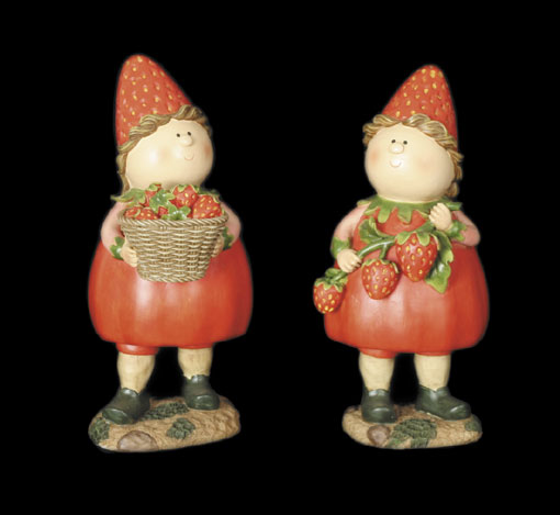 Strawberry Girls with Basket (Pair)