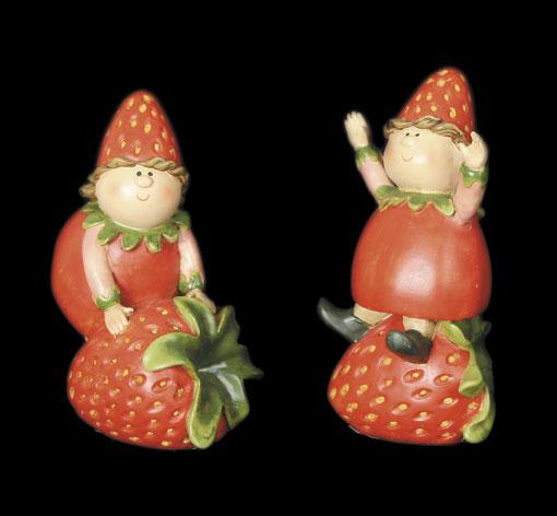 Strawberry Girls Sitting on Strawberries (Pair)