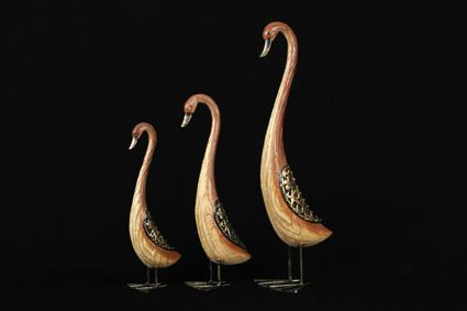 Swans - Timber-Look Birds, Set 3