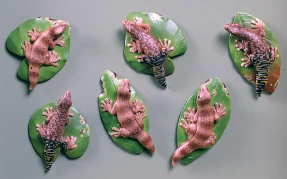 Geckos on Leaves - Magnets